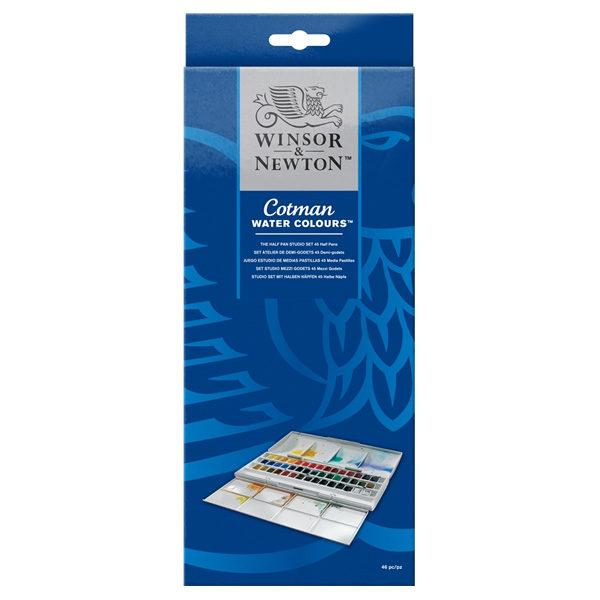 Cotman-Water-Colours-Half-Pan-Studio-Set-45-Half-Pans-Winsor-&-Newton