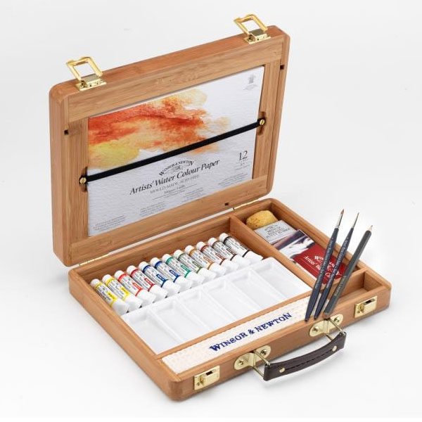 Professional-Water-Colour-Bamboo-Box-Tubes-Winsor-&-Newton