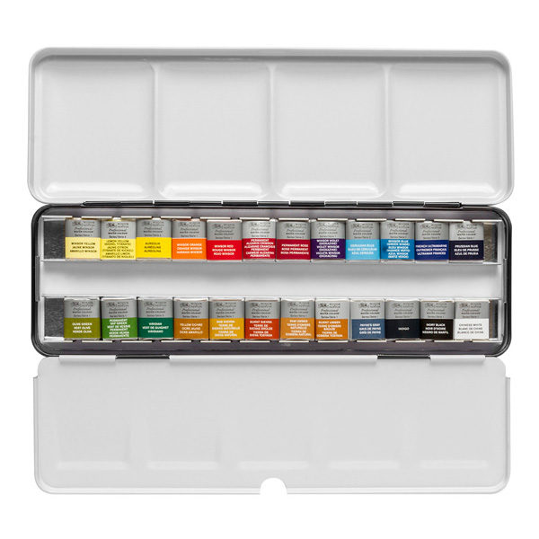Professional-Water-Colour-Lightweight-Sketchers-Box-24-Half-Pans-Winsor-&-Newton