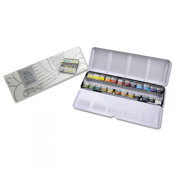 Professional-Water-Colour-Lightweight-Sketchers-Box-24-Half-Pans-Winsor-&-Newton-with-box