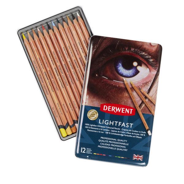 Derwent-Lightfast-Oil-based-Coloured-Pencil-12-Tin-Set-Opened