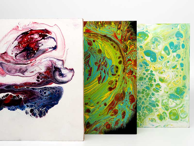 Pouring-Medium-Samples-done-with-Acrylic-Paints