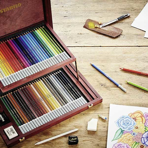 Stabilo-CarbOthello-Chalk-Pastel-60-Color-Wooden-Case-Set-in-Mood-Shot