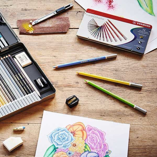 Stabilo-CarbOthello-Chalk-Pastel-Coloring-Pencils-lying-on-table
