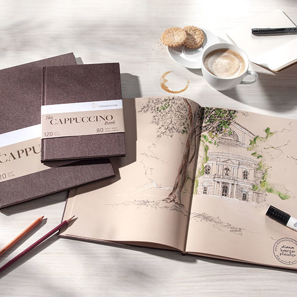 Hahnemuhle-The-Cappuccino-Books-on-table-with-coffee-and-pencils