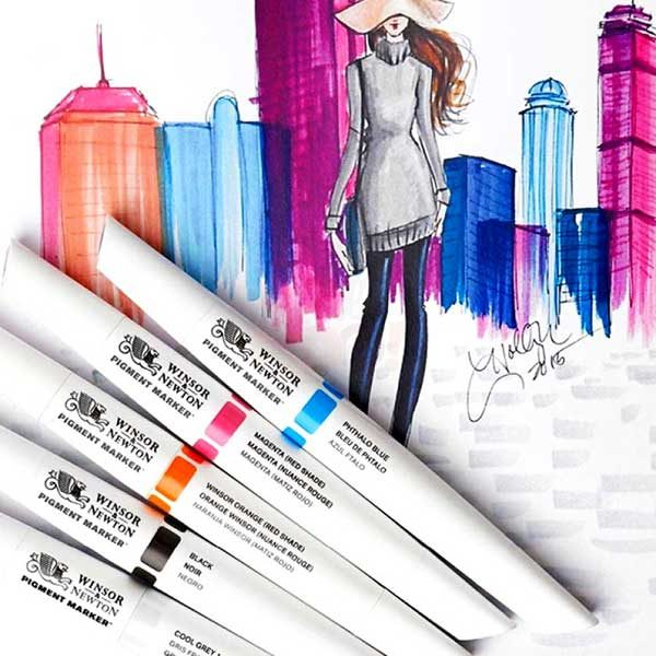 Winsor-&-Newton-Pigment-Markers-used-to-make-a-fashion-sketch