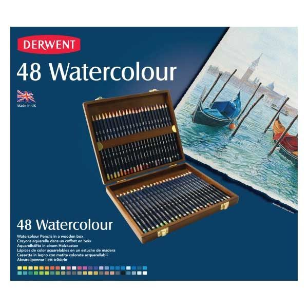 Derwent-Watercolour-Pencils-Wooden-Box-Set-of-48-Front