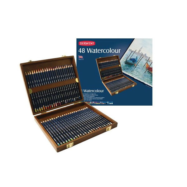 Derwent-Watercolour-Pencils-Wooden-Box-Set-of-48-Open-with-Package