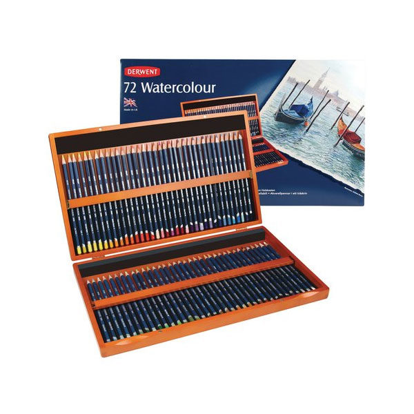 Derwent-Watercolour-Pencils-Wooden-Box-Set-of-72-Open-with-Package