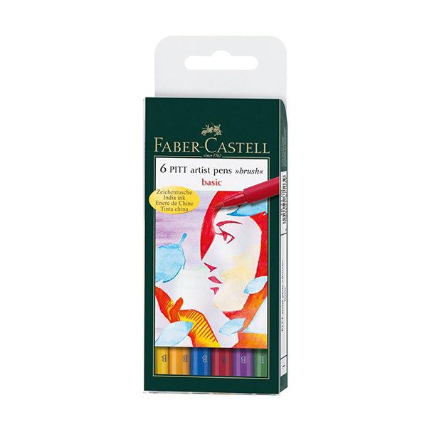 Faber-Castell-India-Ink-Pitt-Artist-Brush-Pens-Set-of-6-Basic-Colours