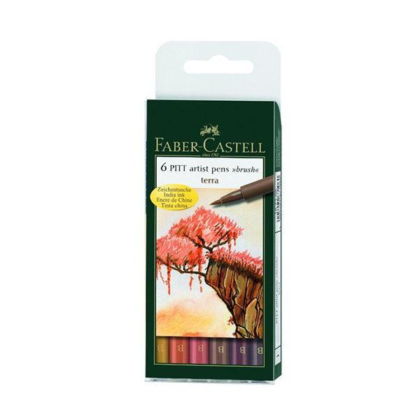 Faber-Castell-India-Ink-Pitt-Artist-Brush-Pens-Set-of-6-Terra-Colours