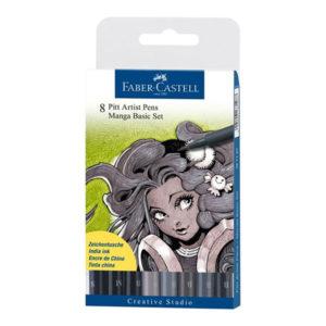 Faber-Castell-India-Ink-Pitt-Artist-Pens-Set-of-8-Manga-Basic-Set-of-8