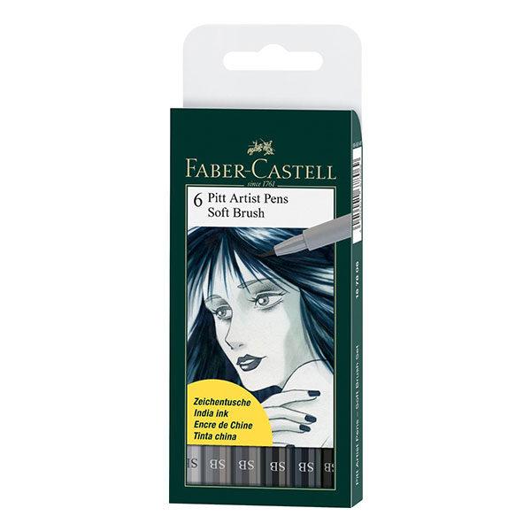 Faber-Castell-India-Ink-Pitt-Artist-Pens-Soft-Brush-Set-of-6