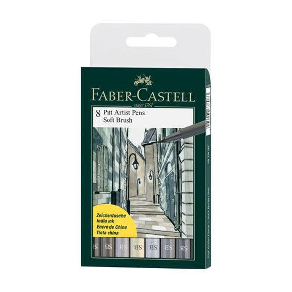 Faber-Castell-India-Ink-Pitt-Artist-Pens-Soft-Brush-Set-of-8