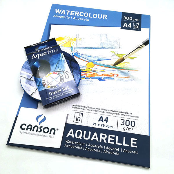 Canson-Watercolour-Aquarelle-Paint-A4-Pad-with-a-Daler-Rowney-Watercolour-Aquafine-Travel-Tin-18-Set