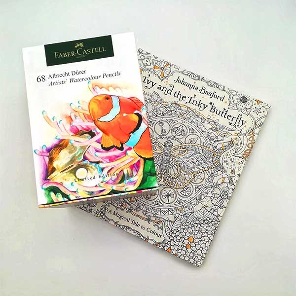 Faber-Castell-Albrecht-Durer-Watercolour-Pencils-Box-Of-68-and-a-Johanna-Basford-Ivy-And-The-Inky-Butterfly-Colouring-book