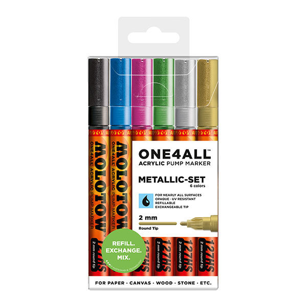 Molotow-ONE4ALL-Acrylic-Marker-2mm-Metallic-Set