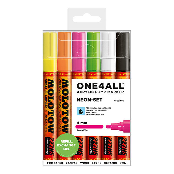 Molotow-ONE4ALL-Acrylic-Marker-4mm-Neon-Set