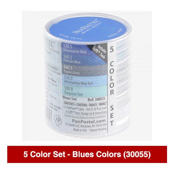 PanPastel-Ultra-Soft-Artists-Painting-Pastels-Blues-Colors-5-Color-Set-30055-Stack