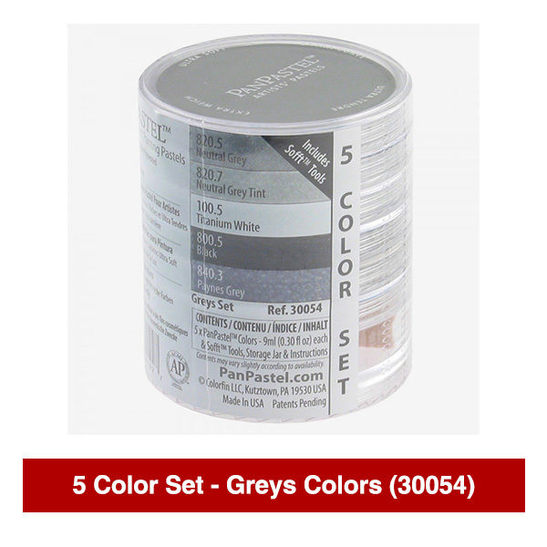 PanPastel-Ultra-Soft-Artists-Painting-Pastels-Greys-Colors-5-Color-Set-30054-Stack