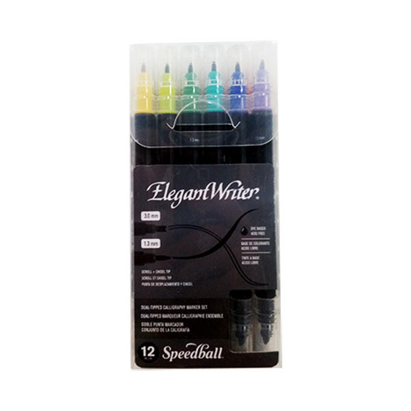 Speedball-Elegant-Writer-12-Dual-Tipped-Calligraphy-Marker-Set