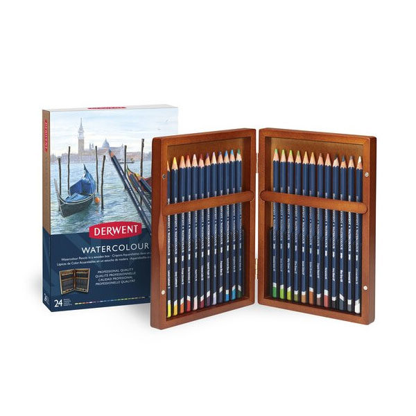 Derwent-Watercolour-Wooden-Box-24-Set-opened-up
