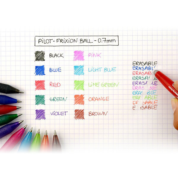 Pilot-FriXion-Ball-Gel-Ink-Rollerball-0,7mm-Pens-Colours
