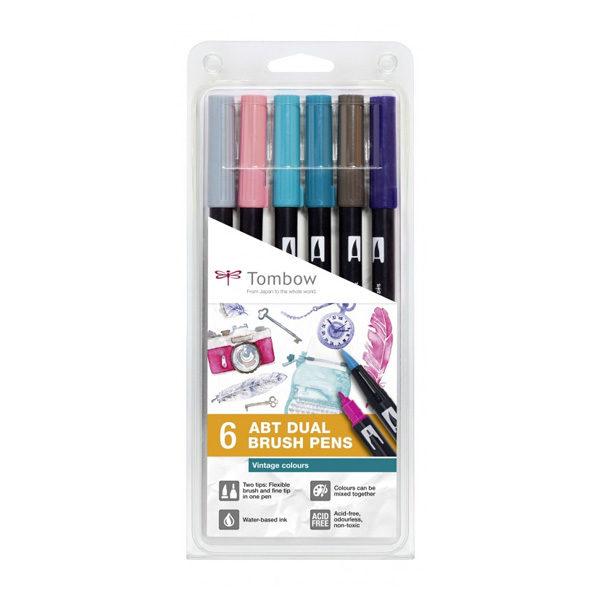Tombow-ABT-Dual-Brush-Pen-Vintage-Colours-6pc-Set