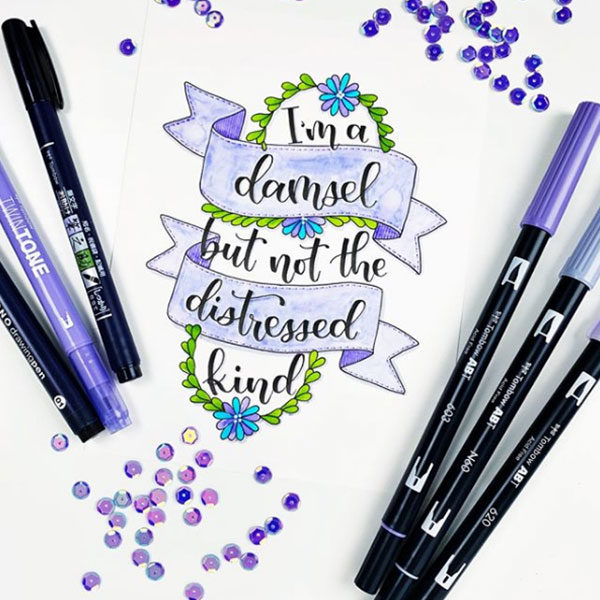 Tombow-Dual-Brush-Pen-Sketch-done-with-purple