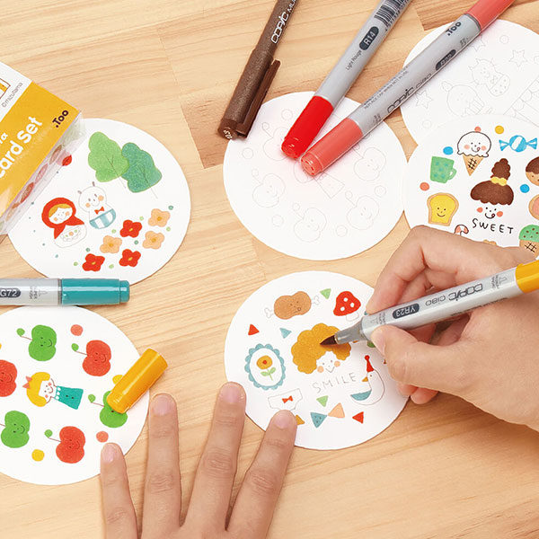 Copic-Coaster-Cards-being-drawn-on