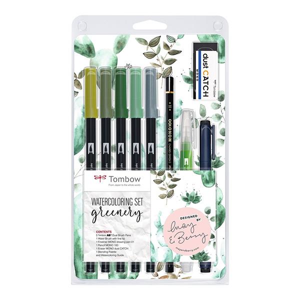 Tombow-ABT-Dual-Brush-Watercoloring-Greenery-Pen-Set