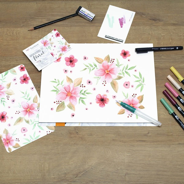 Tombow-ABT-Watercoloring-Floral-Sketch