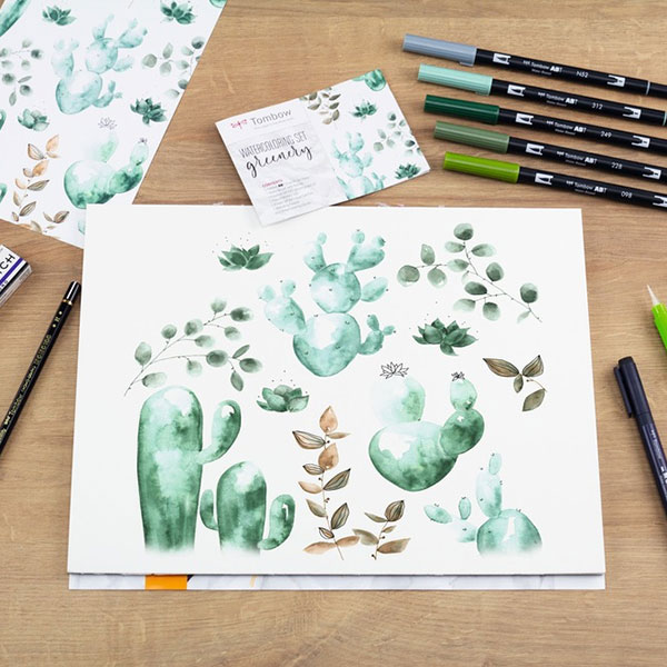 Tombow-ABT-Watercoloring-Greenery-Sketch
