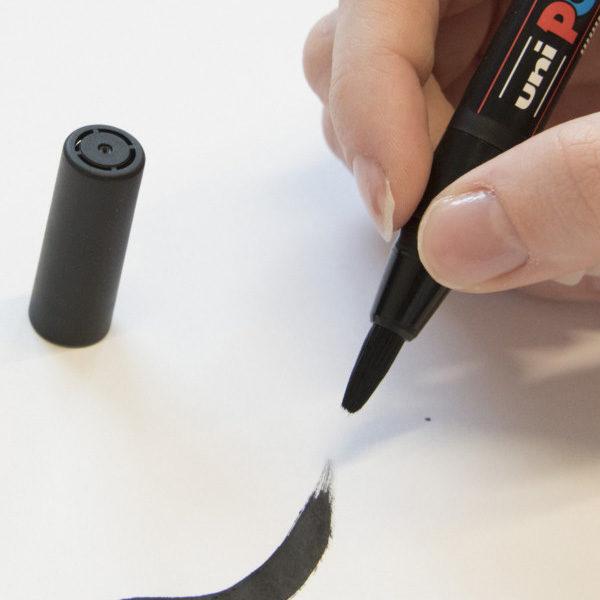 Posca-PCF-350-Soft-Brush-Tip-Black-Marker-stroke