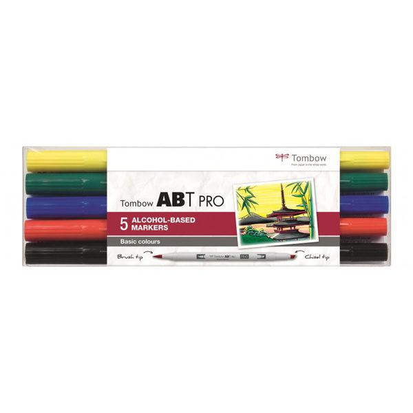 Tombow-ABT-PRO-Alcohol-based-Markers-Basic-Colours-5-Set