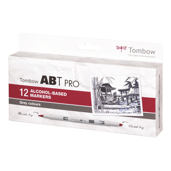 Tombow-ABT-PRO-Alcohol-based-Markers-Grey-Colours-12-Set