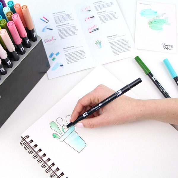 Tombow-Blending-Kit-and-markers-sketching