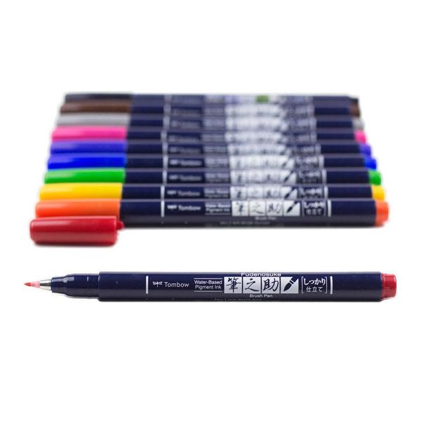Tombow-Fudenosuke-Brush-Pen-Colour-Set-Pen-Colours-laid-out-01