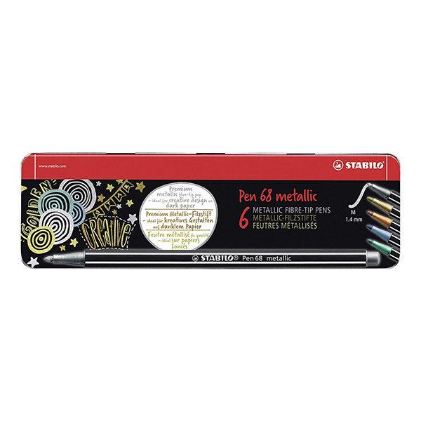 Stabilo-Pen-68-Metallic-Metal-Box-of-6