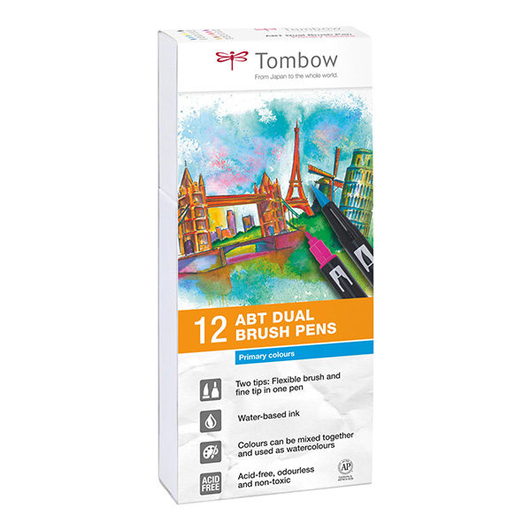 Tombow-ABT-Dual-Brush-Pen-12-Set-Primary-Colours