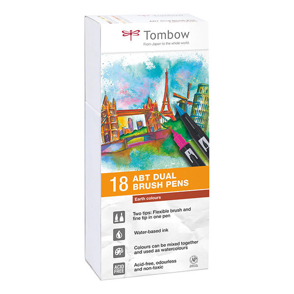 Tombow-ABT-Dual-Brush-Pen-18-Set-Earth-Colours