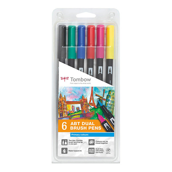 Tombow-ABT-Dual-Brush-Pen-6-Set-Primary-Colours
