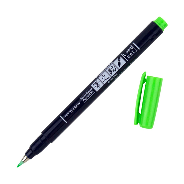 Tombow-Fudenosuke-Hard-Tip-Neon-Green-92-Brush-Pen