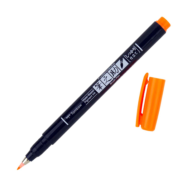 Tombow-Fudenosuke-Hard-Tip-Neon-Orange-93-Brush-Pen