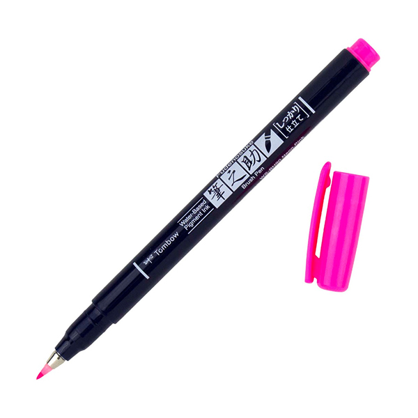 Tombow-Fudenosuke-Hard-Tip-Neon-Pink-90-Brush-Pen