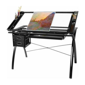 Black-Futura-Art-And-Craft-Workstation-with-art-materials-on
