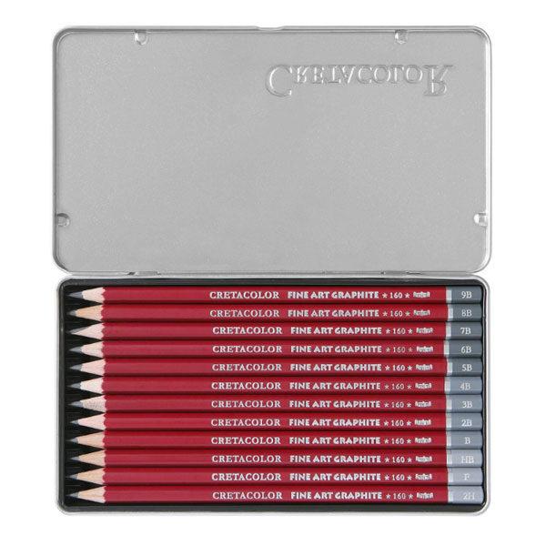 Cretacolor-Cleos-Fine-Art-Graphite-Pencil-Tin-Set-of-12-opened-up