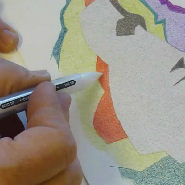 Speedball-Finesse-Colored-Blender-Pen-being-used-on-a-sketch