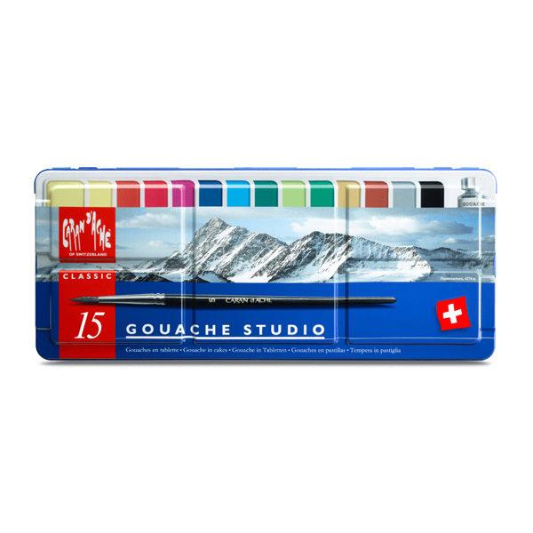Caran-Dache-Gouache-Studio-Colour-Tablets-Set-of-15-Tin-Set-front
