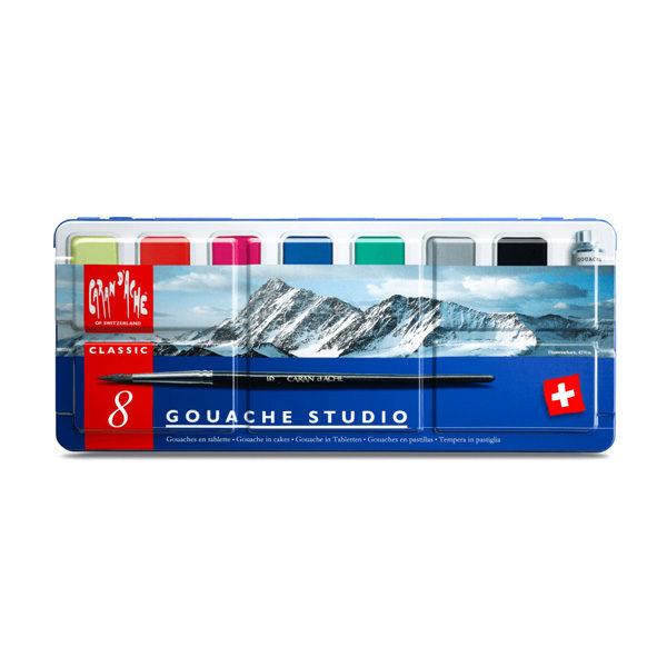 Caran-Dache-Gouache-Studio-Colour-Tablets-Set-of-8-Tin-Set-front